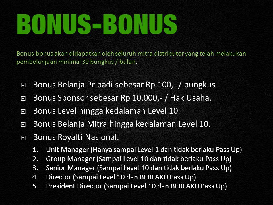  Bonus Belanja Pribadi sebesar Rp 100,- / bungkus  Bonus Sponsor sebesar Rp 10.000,- / Hak Usaha.  Bonus Level hingga kedalaman Level 10.  Bonus B