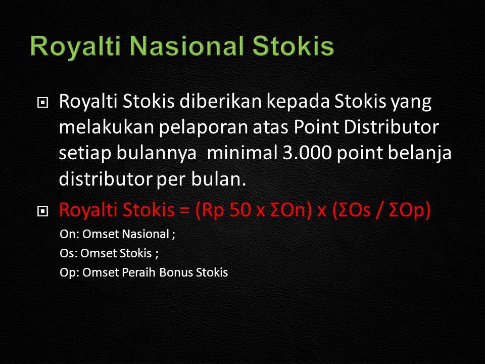  Royalti Stokis diberikan kepada Stokis yang melakukan pelaporan atas Point Distributor setiap bulannya minimal 3.000 point belanja distributor per bulan.