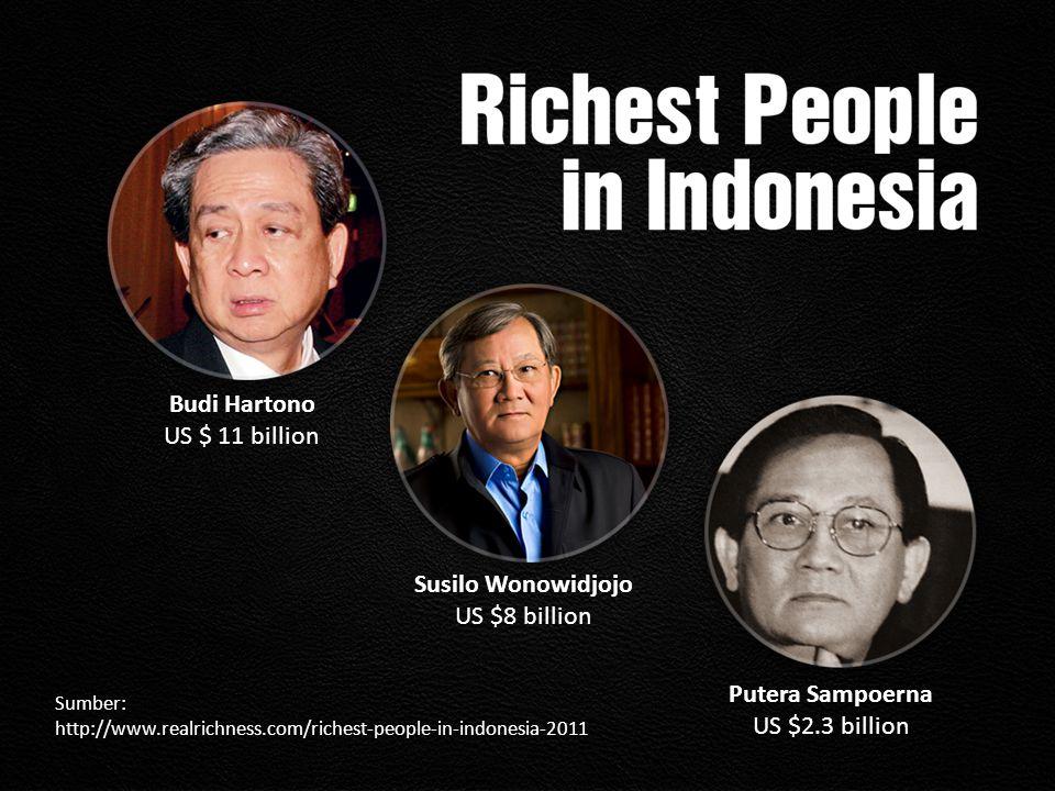 Putera Sampoerna US $2.3 billion Susilo Wonowidjojo US $8 billion Budi Hartono US $ 11 billion Sumber: http://www.realrichness.com/richest-people-in-i