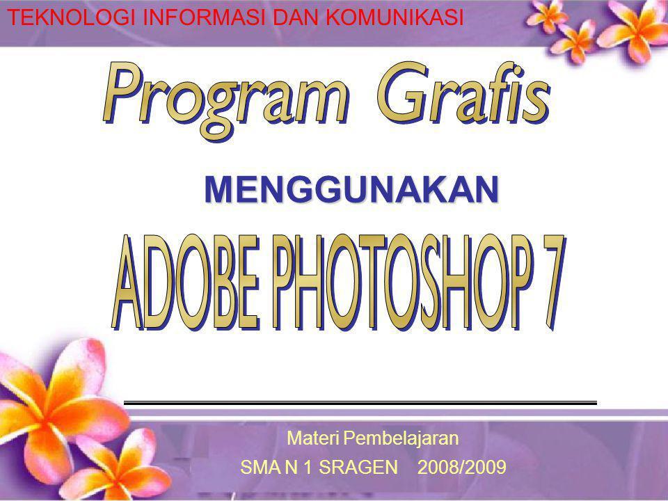 Mengenal Adobe Photoshop 7 Menu Bar Title Bar Option Bar ToolBox Pallete Option bar: berisi informasi tentang tool yang saat itu digunakan.