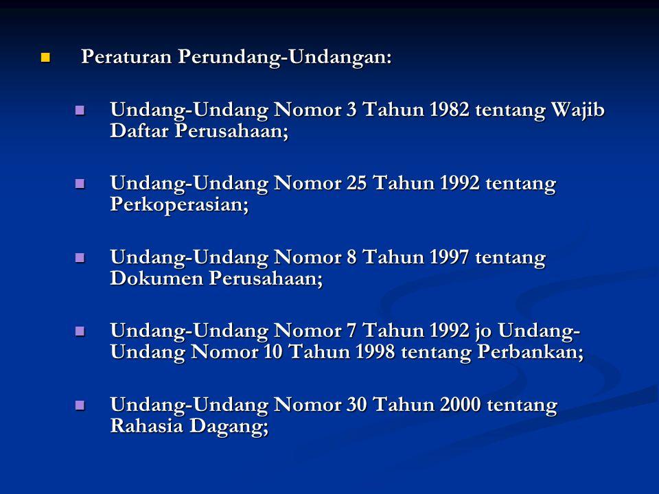  Peraturan Perundang-Undangan:  Undang-Undang Nomor 3 Tahun 1982 tentang Wajib Daftar Perusahaan;  Undang-Undang Nomor 25 Tahun 1992 tentang Perkoperasian;  Undang-Undang Nomor 8 Tahun 1997 tentang Dokumen Perusahaan;  Undang-Undang Nomor 7 Tahun 1992 jo Undang- Undang Nomor 10 Tahun 1998 tentang Perbankan;  Undang-Undang Nomor 30 Tahun 2000 tentang Rahasia Dagang;