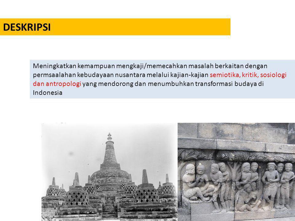 TUJUAN PERKULIAHAN 1.Memahami karakter kebudayaan Nusantara 2.Memahami perkembangan kebudayan nusantara dan faktor-faktor yang mempengaruhi lahirnya kebudayaan nusantara 3.Memahami runtutan faktor filosofi, sosial, politik dan ekonomi dan implikasinya pada perkembangan kebudayaan di nusantara