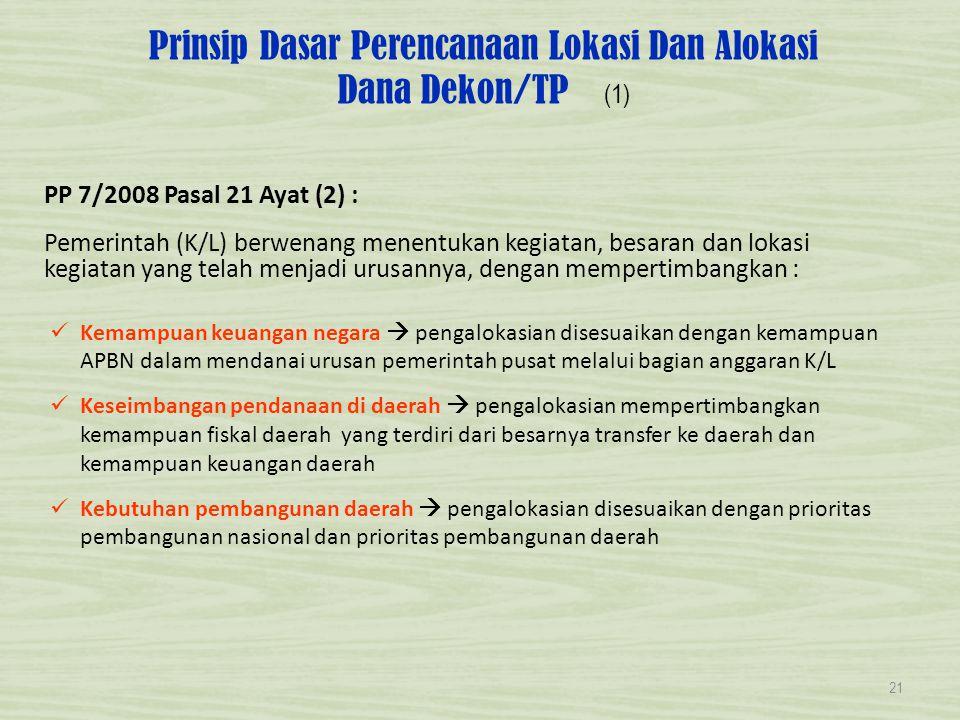 Prinsip Dasar Perencanaan Lokasi Dan Alokasi Dana Dekon/TP (1) PP 7/2008 Pasal 21 Ayat (2) : Pemerintah (K/L) berwenang menentukan kegiatan, besaran d