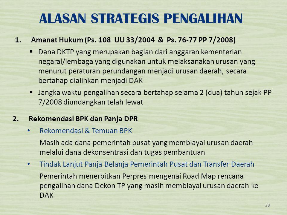 ALASAN STRATEGIS PENGALIHAN 1.Amanat Hukum (Ps. 108 UU 33/2004 & Ps. 76-77 PP 7/2008)  Dana DKTP yang merupakan bagian dari anggaran kementerian nega