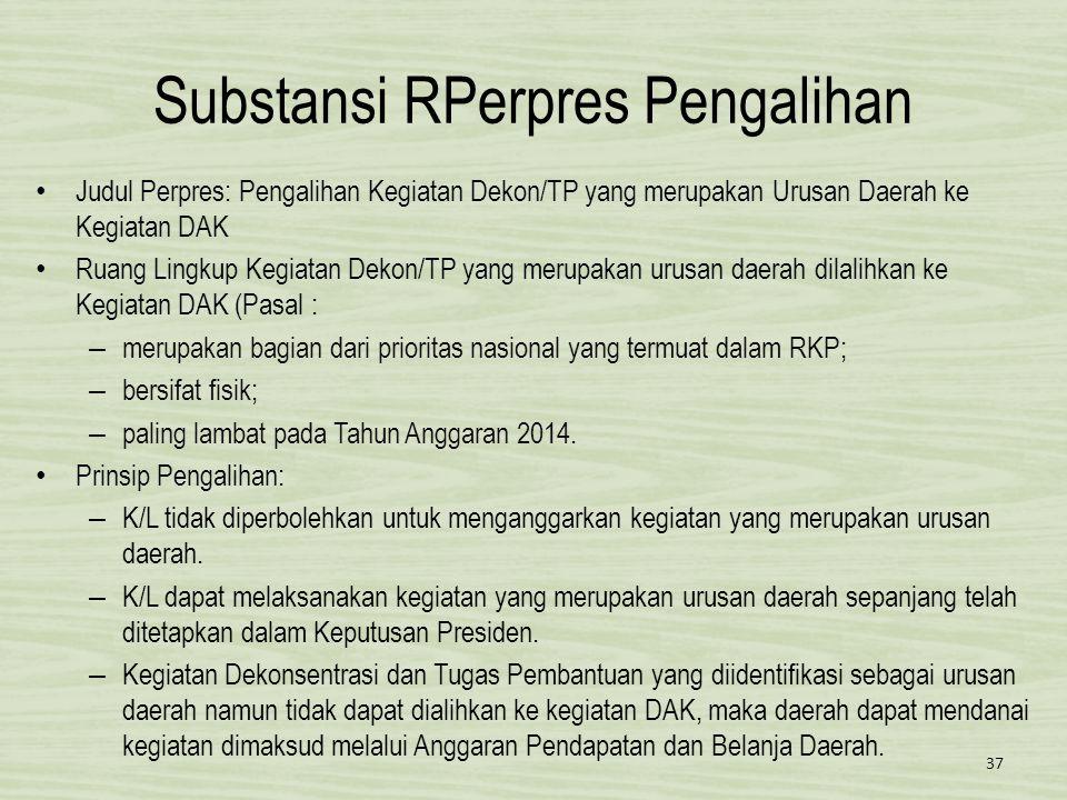 Substansi RPerpres Pengalihan • Judul Perpres: Pengalihan Kegiatan Dekon/TP yang merupakan Urusan Daerah ke Kegiatan DAK • Ruang Lingkup Kegiatan Deko