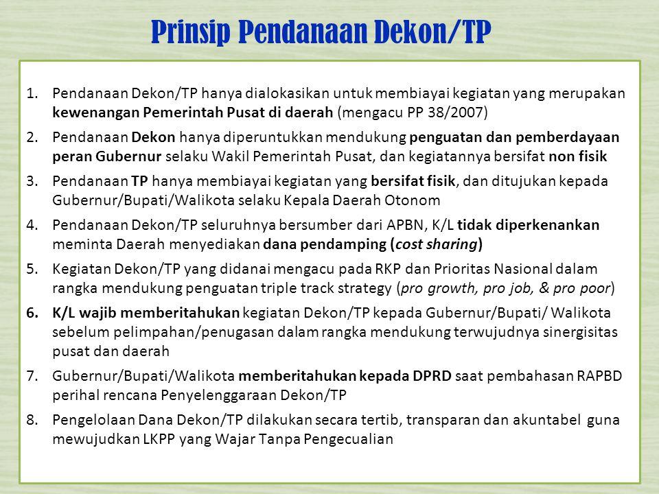 Prinsip Pendanaan Dekon/TP 5 1.Pendanaan Dekon/TP hanya dialokasikan untuk membiayai kegiatan yang merupakan kewenangan Pemerintah Pusat di daerah (me