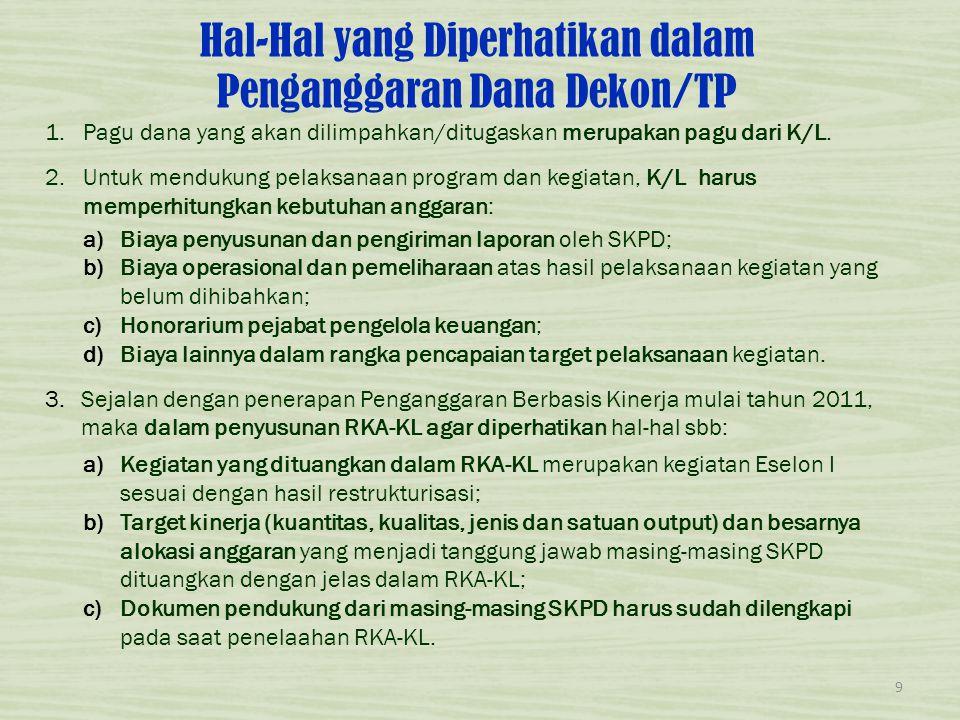 Hal-Hal yang Diperhatikan dalam Penganggaran Dana Dekon/TP 1.Pagu dana yang akan dilimpahkan/ditugaskan merupakan pagu dari K/L. 2.Untuk mendukung pel
