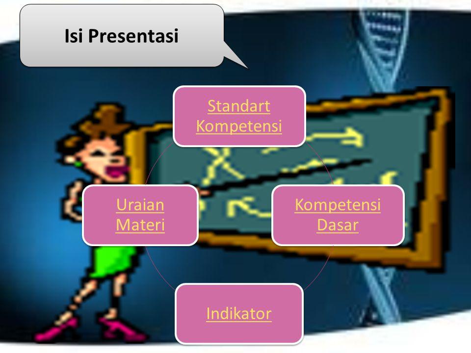 Standart Kompetensi Kompetensi Dasar Indikator Uraian Materi Isi Presentasi Isi Presentasi