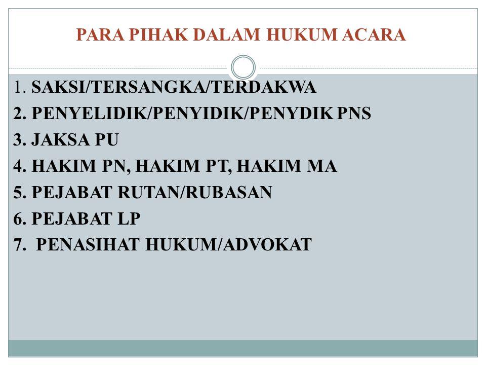 PARA PIHAK DALAM HUKUM ACARA 1. SAKSI/TERSANGKA/TERDAKWA 2. PENYELIDIK/PENYIDIK/PENYDIK PNS 3. JAKSA PU 4. HAKIM PN, HAKIM PT, HAKIM MA 5. PEJABAT RUT
