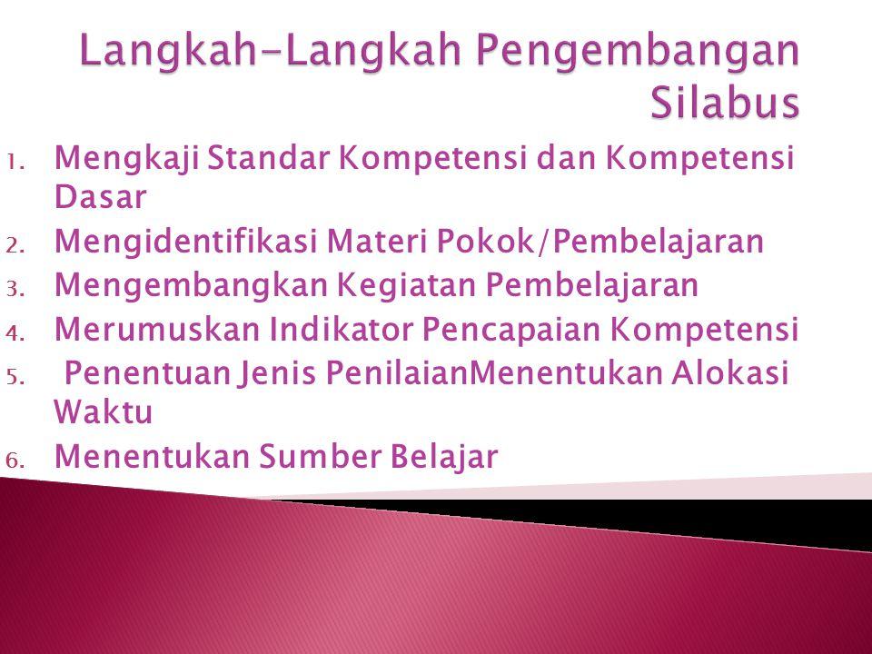 1. Mengkaji Standar Kompetensi dan Kompetensi Dasar 2. Mengidentifikasi Materi Pokok/Pembelajaran 3. Mengembangkan Kegiatan Pembelajaran 4. Merumuskan