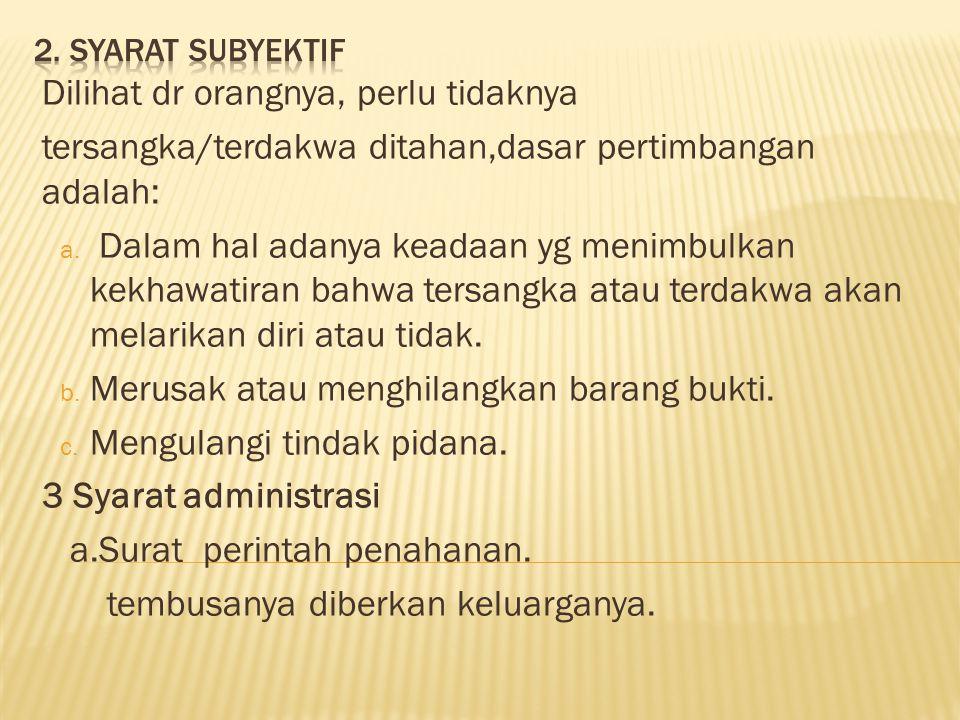 Jenis penahanan dapat berupa ; a.Penahanan Rumah Tahanan Negara (Rutan) b.
