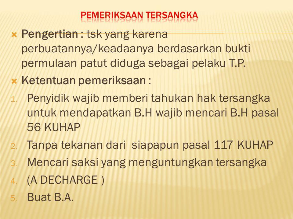  Kelengkapan Formal membuat : 1.Identitas tersangka seperti dalam pasal 143 (2) a KUHAP 2.