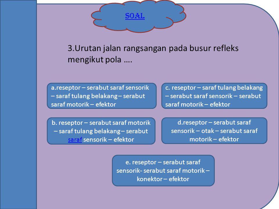 SOAL b. reseptor – serabut saraf motorik – saraf tulang belakang – serabut saraf sensorik – efektor saraf e. reseptor – serabut saraf sensorik- serabu