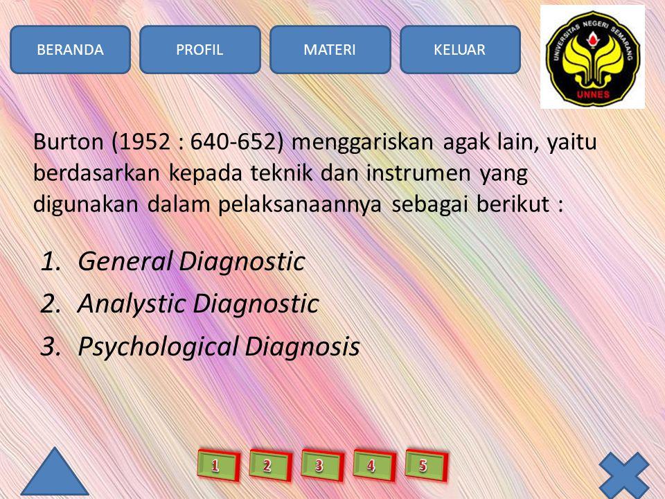 BERANDAPROFILMATERIKELUAR Burton (1952 : 640-652) menggariskan agak lain, yaitu berdasarkan kepada teknik dan instrumen yang digunakan dalam pelaksanaannya sebagai berikut : 1.General Diagnostic 2.Analystic Diagnostic 3.Psychological Diagnosis