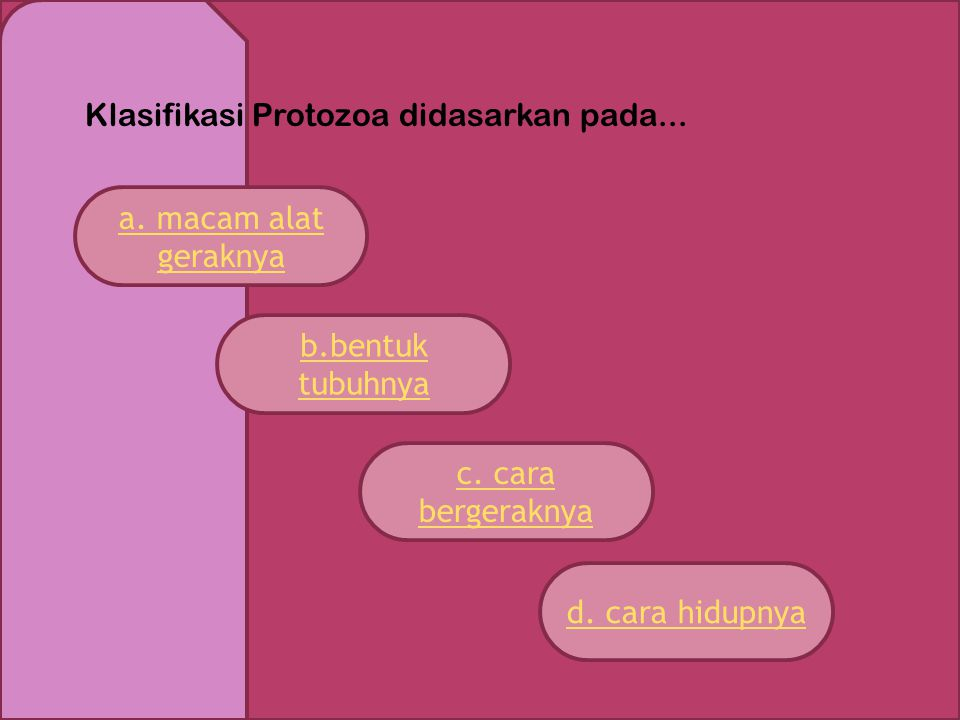 Klasifikasi Protozoa didasarkan pada...a. macam alat geraknya c.
