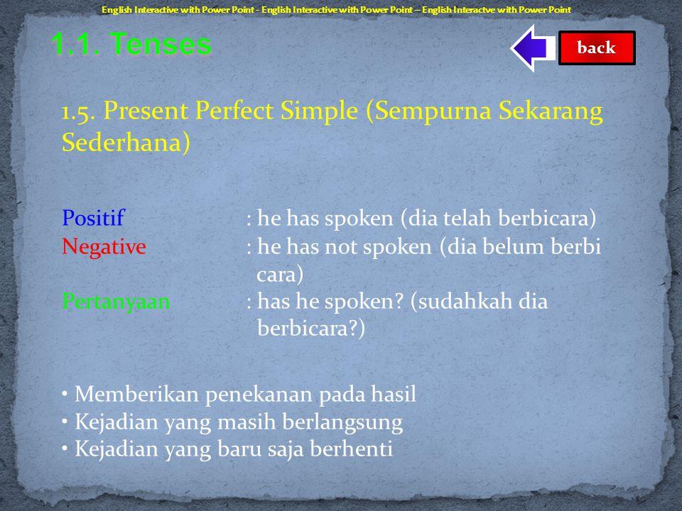 1.4. Past Progressive (Berlangsung Lampau) Positif : he was speaking (dia sedang berbicara) Negative : he was not speaking (dia tidak berbicara) Perta
