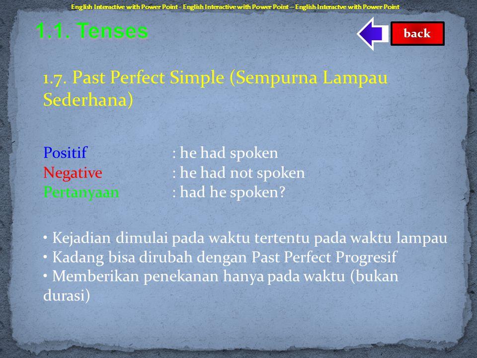 1.6. Present Perfect Progressive (Berlangsung Sempurna Sekarang) Positif : he has been speaking (dia telah sedang berbicara) Negative: he has not been