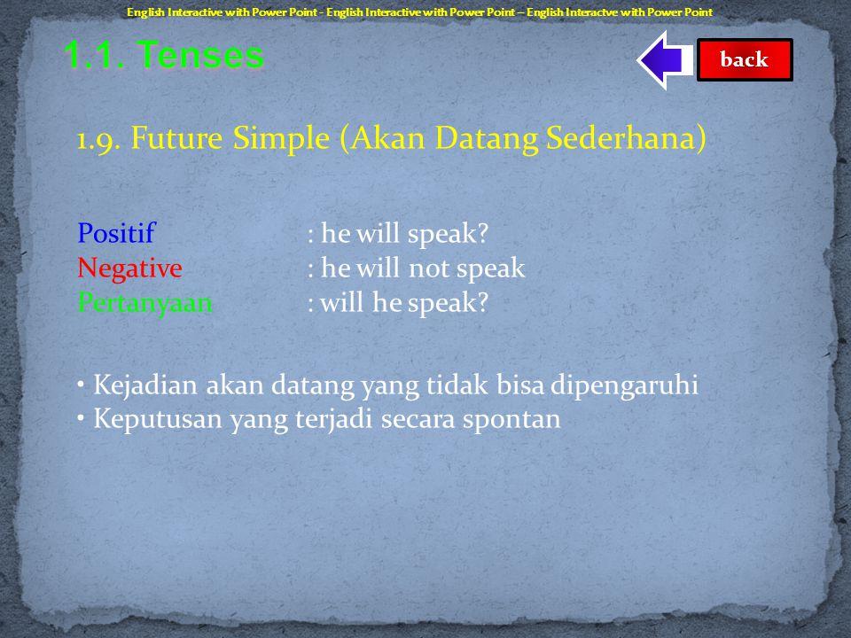 1.8. Past Perfect Progressive (Berlangsung Sempurna Lampau) Positif : he had been speaking Negative: he had not been speaking Pertanyaan: had he been