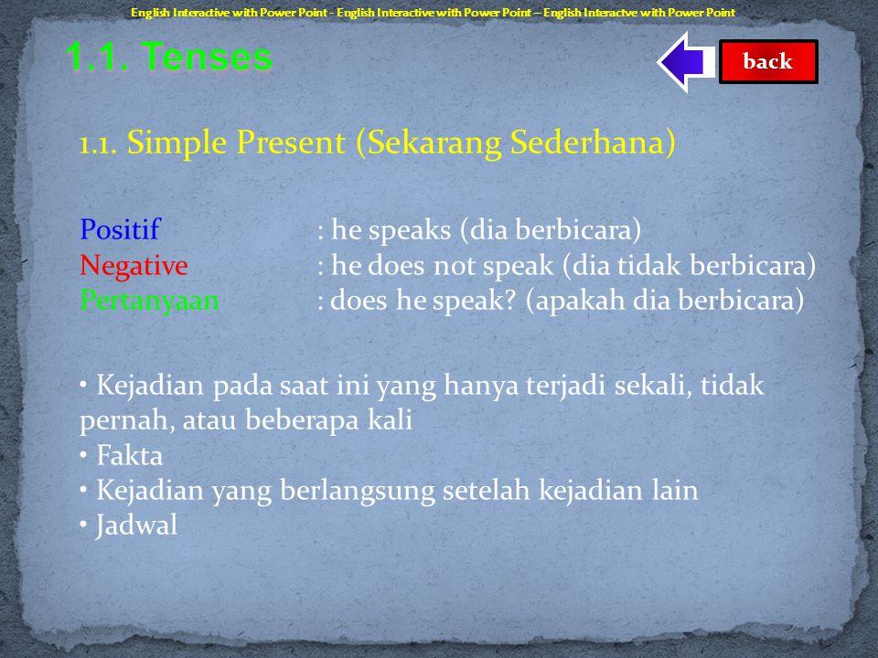  Tenses adalah cara bahasa menyatakan waktu pada saat kejadian yang dinyatakan oleh kalimat sedang berlangsung. Tenses seluruhnya berjumlah 16 tense,