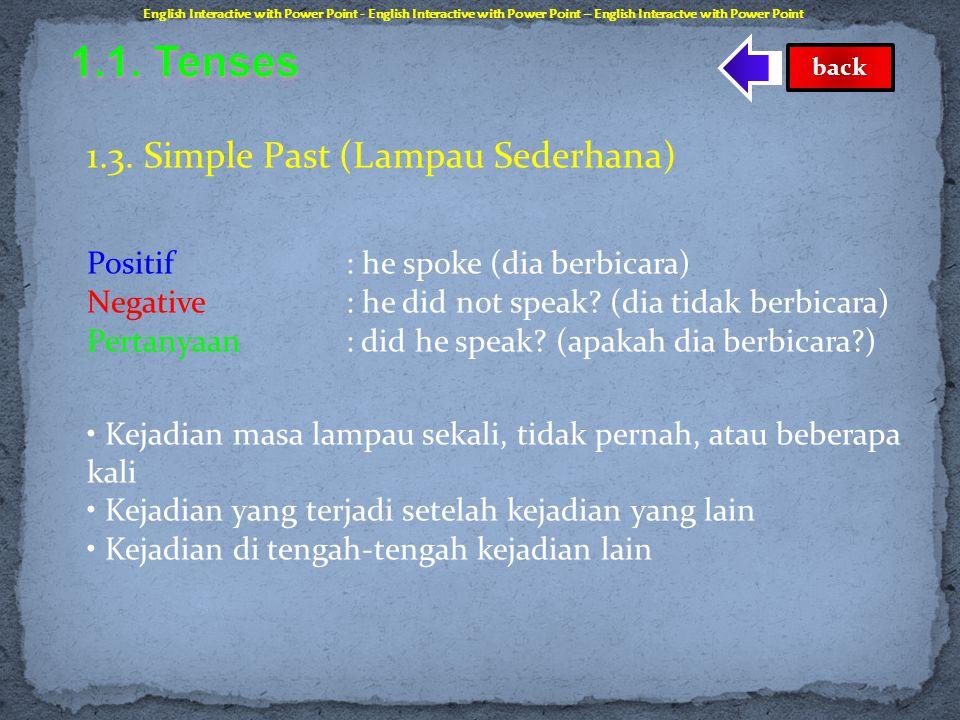 1.2. Present Progressive (Sekarang Berlangsung) Positif : he is speaking (dia sedang berbicara) Negative : he is not speaking (dia tidak sedang berbic