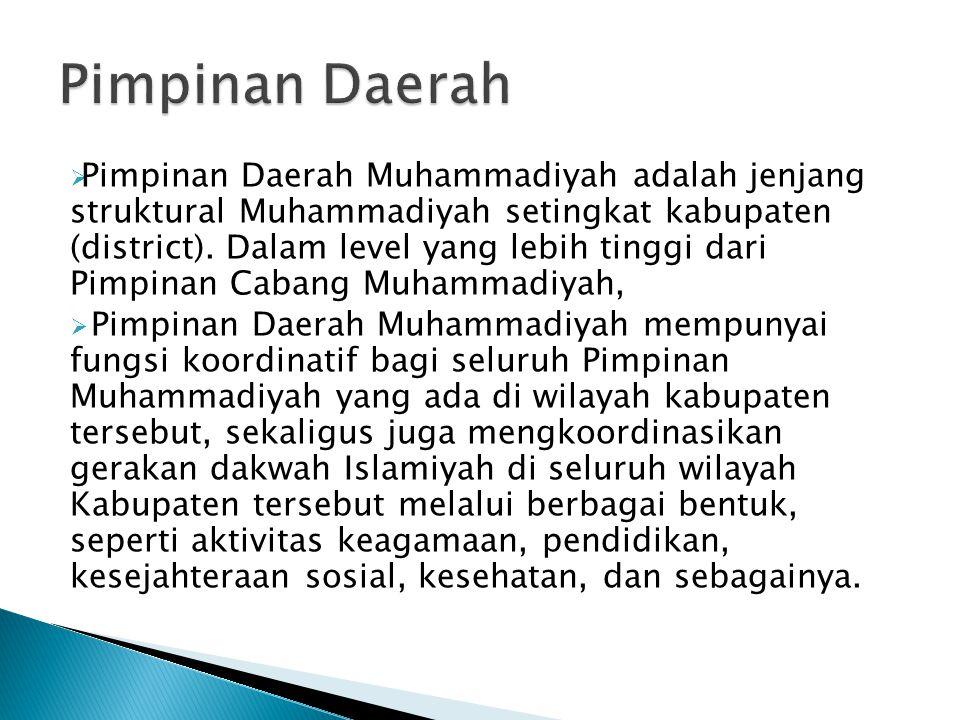  Pimpinan Daerah Muhammadiyah adalah jenjang struktural Muhammadiyah setingkat kabupaten (district). Dalam level yang lebih tinggi dari Pimpinan Caba