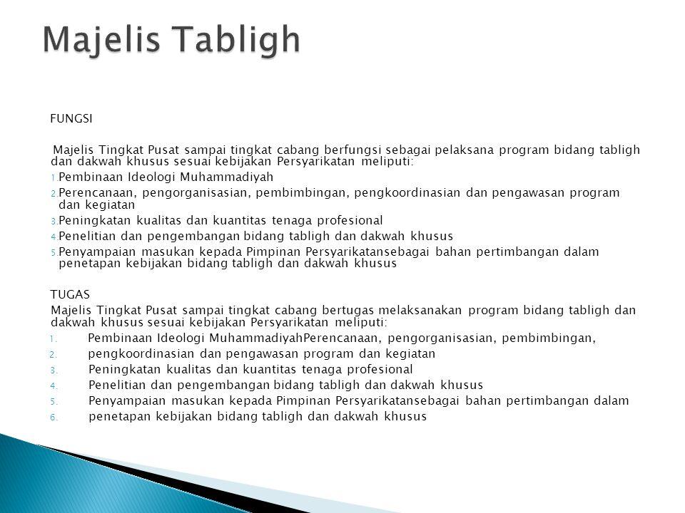 FUNGSI Majelis Tingkat Pusat sampai tingkat cabang berfungsi sebagai pelaksana program bidang tabligh dan dakwah khusus sesuai kebijakan Persyarikatan