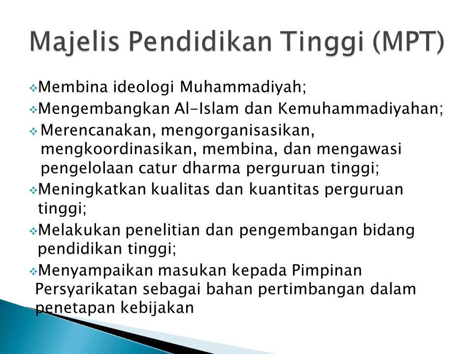  Membina ideologi Muhammadiyah;  Mengembangkan Al-Islam dan Kemuhammadiyahan;  Merencanakan, mengorganisasikan, mengkoordinasikan, membina, dan men