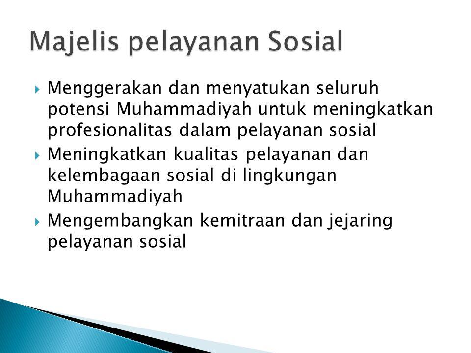  Menggerakan dan menyatukan seluruh potensi Muhammadiyah untuk meningkatkan profesionalitas dalam pelayanan sosial  Meningkatkan kualitas pelayanan