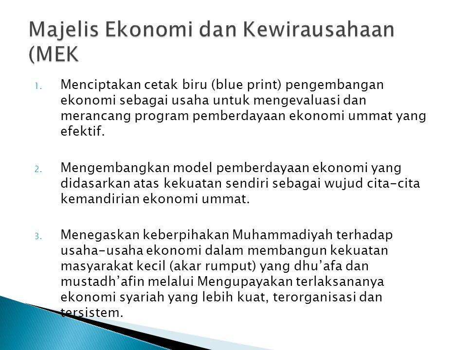 1. Menciptakan cetak biru (blue print) pengembangan ekonomi sebagai usaha untuk mengevaluasi dan merancang program pemberdayaan ekonomi ummat yang efe