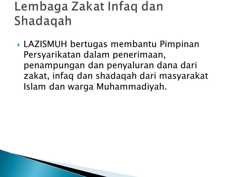  LAZISMUH bertugas membantu Pimpinan Persyarikatan dalam penerimaan, penampungan dan penyaluran dana dari zakat, infaq dan shadaqah dari masyarakat I