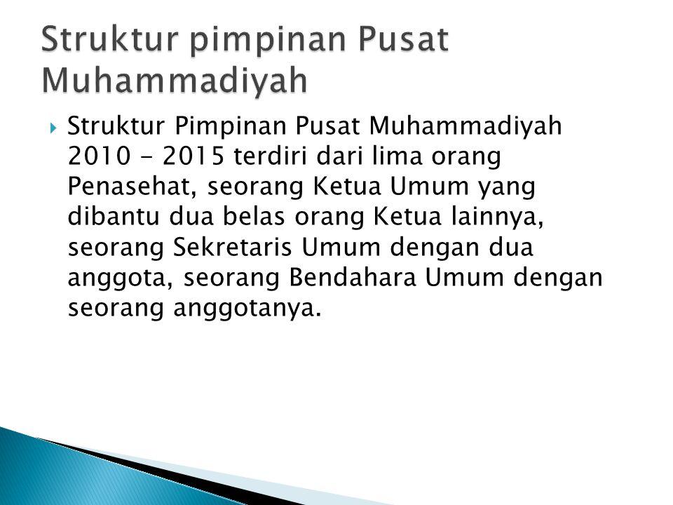  Struktur Pimpinan Pusat Muhammadiyah 2010 - 2015 terdiri dari lima orang Penasehat, seorang Ketua Umum yang dibantu dua belas orang Ketua lainnya, s