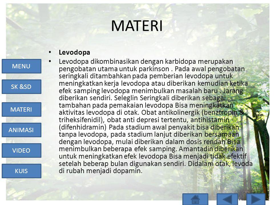 MENU SK &SD MATERI ANIMASI VIDEO KUIS MATERI • Levodopa • Levodopa dikombinasikan dengan karbidopa merupakan pengobatan utama untuk parkinson. Pada aw
