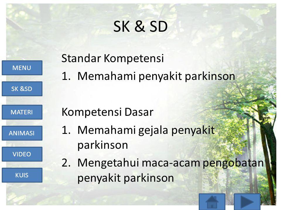 MENU SK &SD MATERI ANIMASI VIDEO KUIS SK & SD Standar Kompetensi 1.Memahami penyakit parkinson Kompetensi Dasar 1.Memahami gejala penyakit parkinson 2.Mengetahui maca-acam pengobatan penyakit parkinson