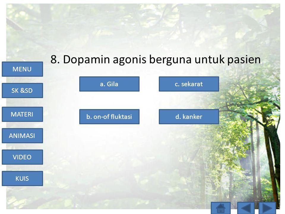 MENU SK &SD MATERI ANIMASI VIDEO KUIS 8.Dopamin agonis berguna untuk pasien a.