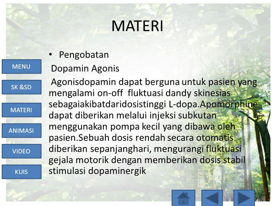 MENU SK &SD MATERI ANIMASI VIDEO KUIS MATERI • MAO-B inhibitor • MAO-B rusak dopamin disekresikan oleh neuron dopaminergik, sehingga inhibitt ingakan berakibat pada penghambatan pemecahan dopamin.