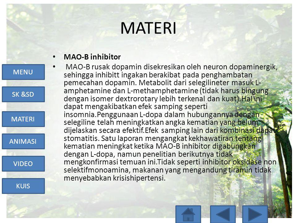 MENU SK &SD MATERI ANIMASI VIDEO KUIS MATERI • MAO-B inhibitor • MAO-B rusak dopamin disekresikan oleh neuron dopaminergik, sehingga inhibitt ingakan