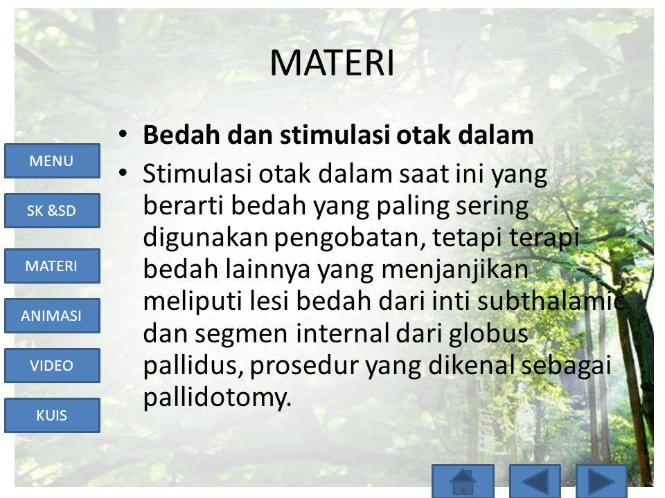 MENU SK &SD MATERI ANIMASI VIDEO KUIS MATERI • Bedah dan stimulasi otak dalam • Stimulasi otak dalam saat ini yang berarti bedah yang paling sering di