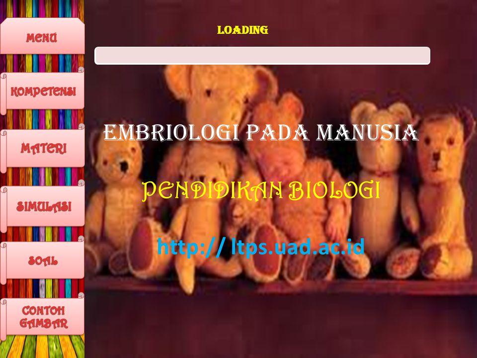 LOADING EMBRIOLOGI PADA MANUSIA PENDIDIKAN BIOLOGI http:// ltps.uad.ac.id