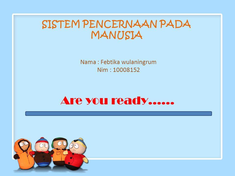 SISTEM PENCERNAAN PADA MANUSIA Nama : Febtika wulaningrum Nim : 10008152 Are you ready……