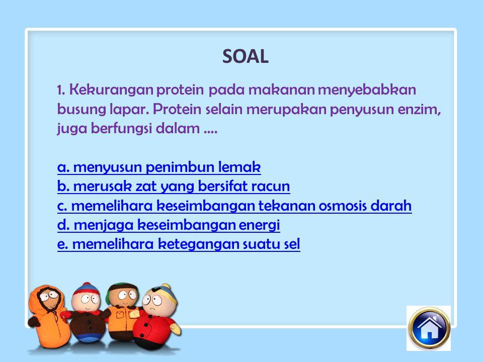 SOAL 1.Kekurangan protein pada makanan menyebabkan busung lapar.