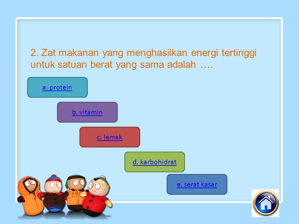 2.Zat makanan yang menghasilkan energi tertinggi untuk satuan berat yang sama adalah ….