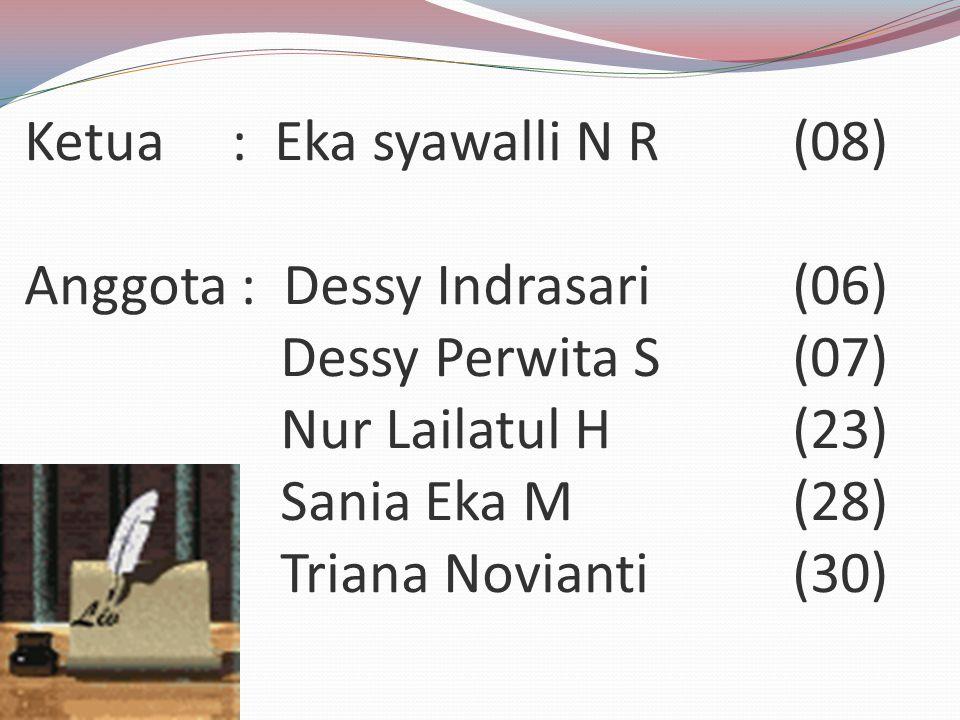 Ketua : Eka syawalli N R(08) Anggota : Dessy Indrasari(06) Dessy Perwita S(07) Nur Lailatul H(23) Sania Eka M(28) Triana Novianti(30)