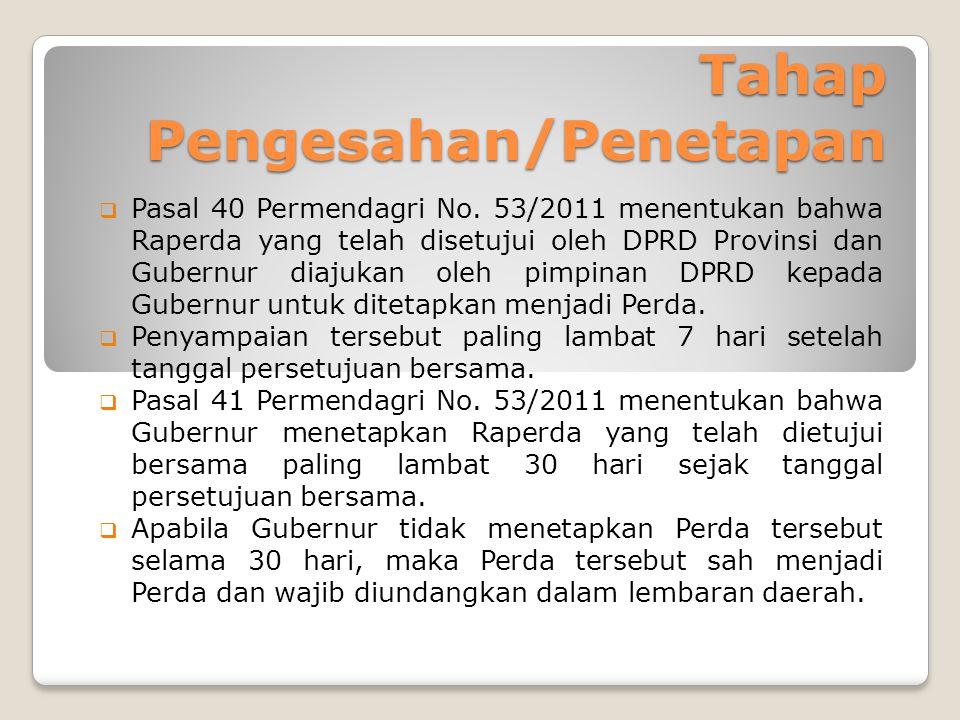 Tahap Pengesahan/Penetapan  Pasal 40 Permendagri No.