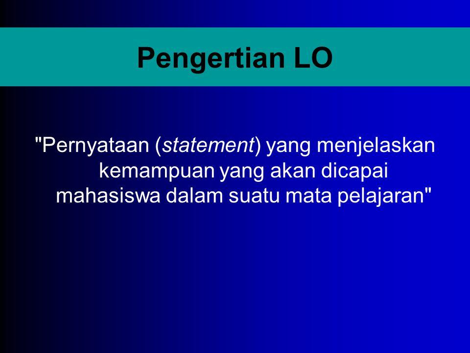 Fungsi LO bagi Dosen 1.Sebagai gambaran tentang kemampuan yang harus dimiliki oleh mahasiswa setelah mengikuti pelajaran.