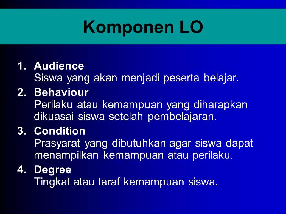 Komponen LO 1.Audience Siswa yang akan menjadi peserta belajar. 2.Behaviour Perilaku atau kemampuan yang diharapkan dikuasai siswa setelah pembelajara