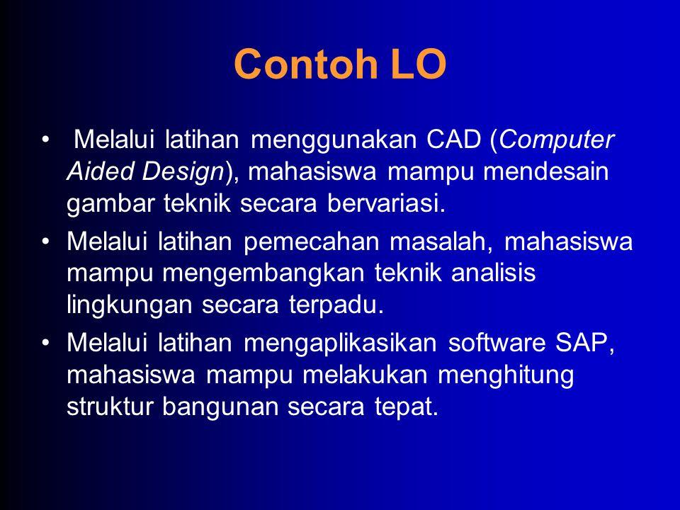 Contoh LO • Melalui latihan menggunakan CAD (Computer Aided Design), mahasiswa mampu mendesain gambar teknik secara bervariasi. •Melalui latihan pemec