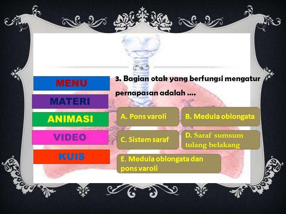 3. Bagian otak yang berfungsi mengatur pernapasan adalah …. A. Pons varoliB. Medula oblongata C. Sistem saraf D. Saraf sumsum tulang belakang E. Medul