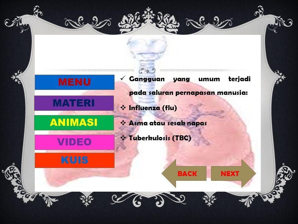  Macam-macam peradangan pada sistem pernapasan manusia: Rinitis, Faringitis, Laringitis, Bronkitis, Sinusitis, Difteri, Asfikasi, Asidosis, Emfisema, Pneumonia, Wajah adenoid (kesan wajah bodoh), Kanker paru-paru MENU MATERI ANIMASI VIDEO KUIS NEXT BACK