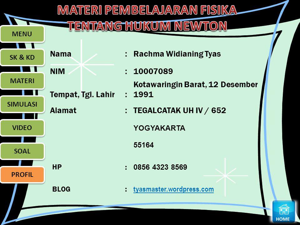 MENU SK & KD MATERI SIMULASI VIDEO SOAL PROFIL Nama:Rachma Widianing Tyas NIM:10007089 Tempat, Tgl. Lahir: Kotawaringin Barat, 12 Desember 1991 Alamat