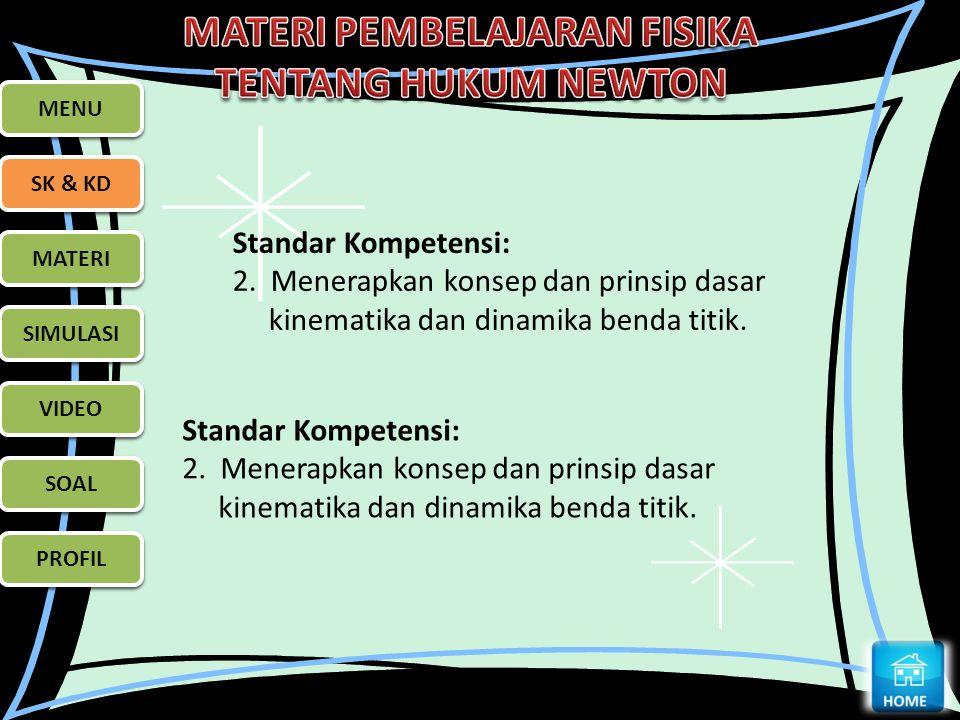 MENU SK & KD MATERI SIMULASI VIDEO SOAL PROFIL MENU SK & KD MATERI SIMULASI VIDEO SOAL PROFIL Standar Kompetensi: 2. Menerapkan konsep dan prinsip das